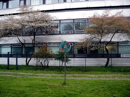 Blühende Bäumchen vor Beton und Glas, davor ein Zaun, davor ein Schild, dass das Ballspielen verboten sei