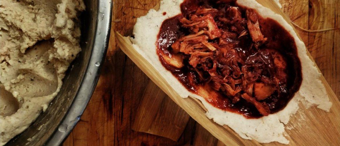 9 plant based tamales in guajillo chilli sauce