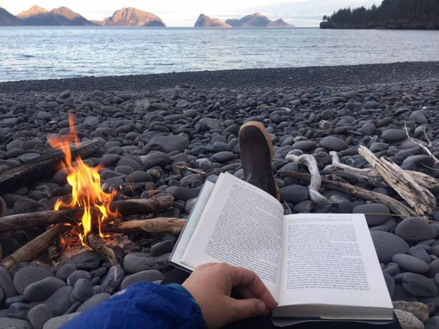 Camping with a book