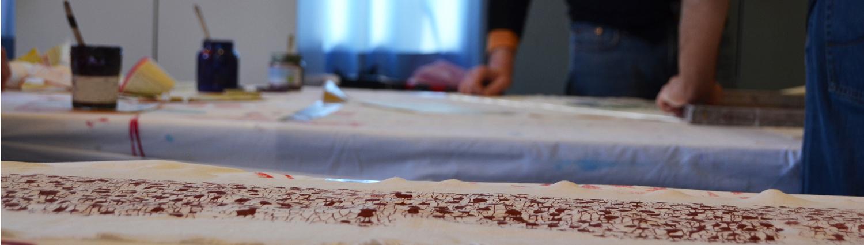 design textile et slow design impression sur lin en sérigraphie