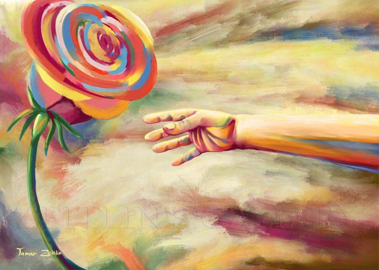 ציור יד מושטת לפרח