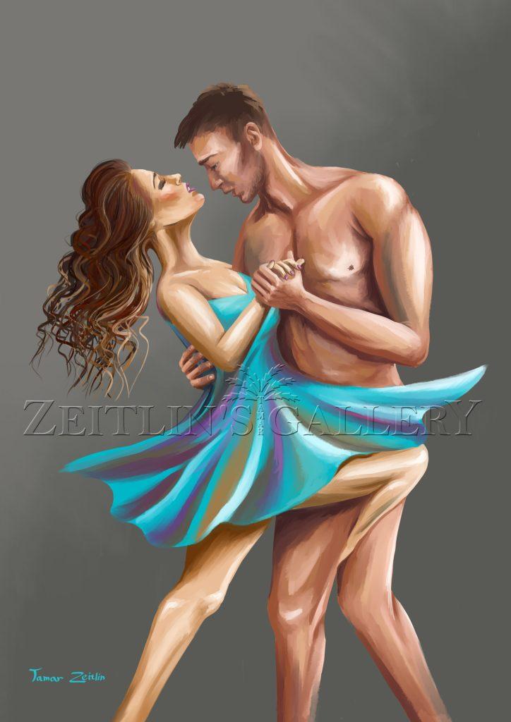 זוג רוקד בתשוקה