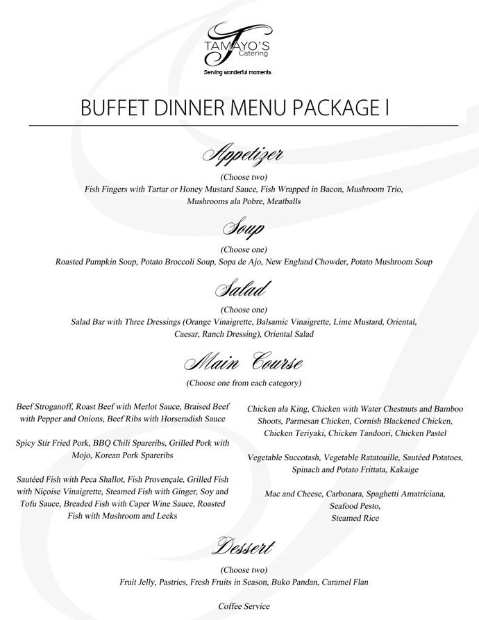 Tamayo's Catering Catering Packages