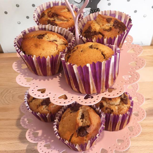 muffins fraises pépites de chocolat