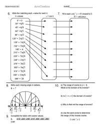 Table Of Trigonometric Values Worksheet  Review Home Decor
