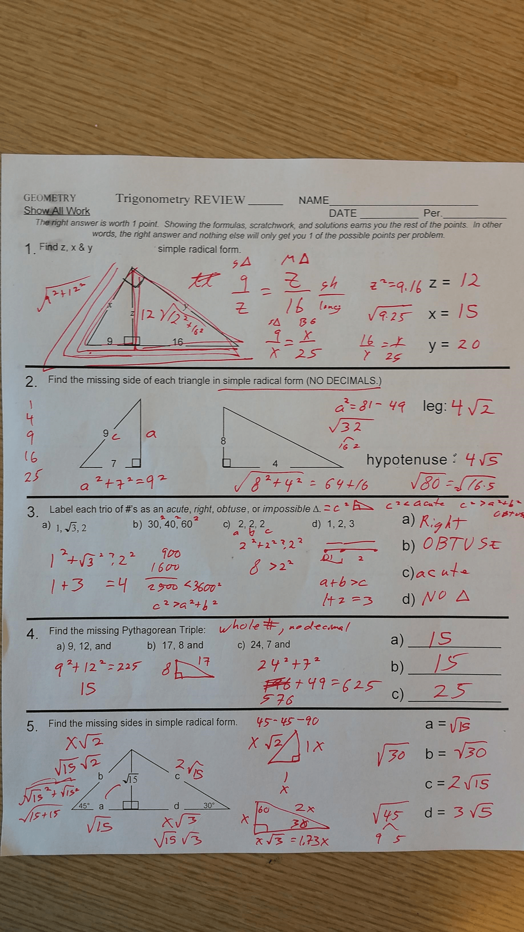 Algebra 1 Unit 8 Test Quadratic Equations Answers Gina
