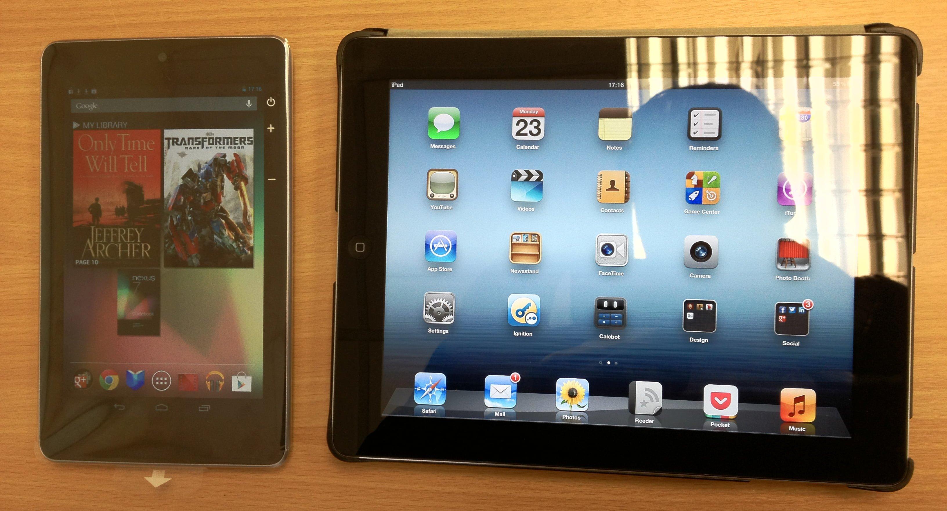 Google Nexus 7 and iPad 3rd Gen Side by side