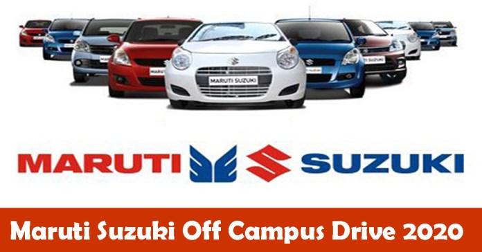 Maruti Suzuki Off Campus Drive 2020 – Assistant Manager   B.E/B.Tech/M.E/M.Tech Candidates Can Apply