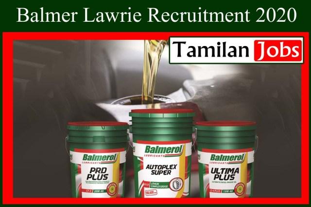 Balmer Lawrie Recruitment 2020