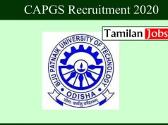 CAPGS Recruitment 2020