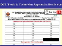 IOCL Trade & Technician Apprentice Result 2020