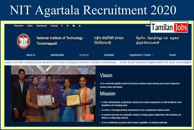 NIT Agartala Recruitment 2020