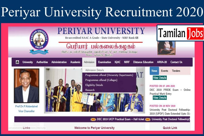 Periyar University Recruiemrnt 2020