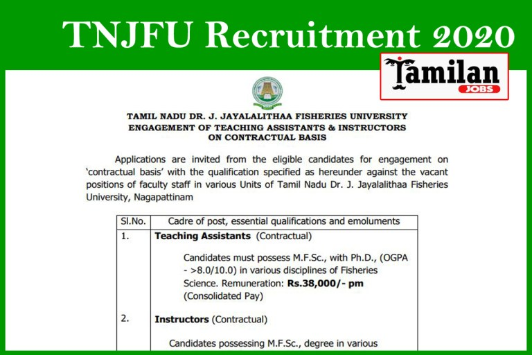 TNJFU Recruitment 2020 Out – Apply 10 Driver, Lab Assistant Jobs