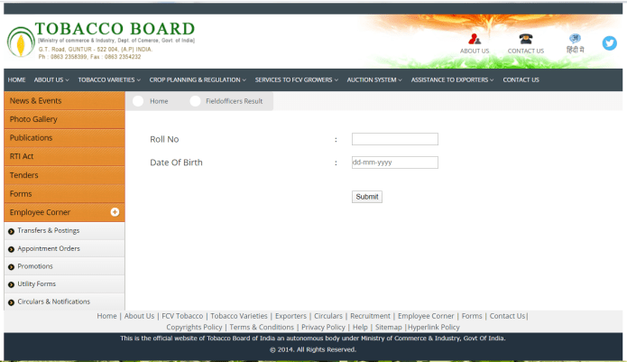 Tobacco Board Field Officer Result 2020 Released | Download Here