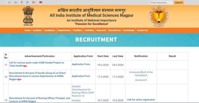 AIIMS Nagpur Nursing Officer Admit Card 2020 OUT | Grade II Exam Date