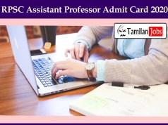 RPSC Assistant Professor Admit Card 2020