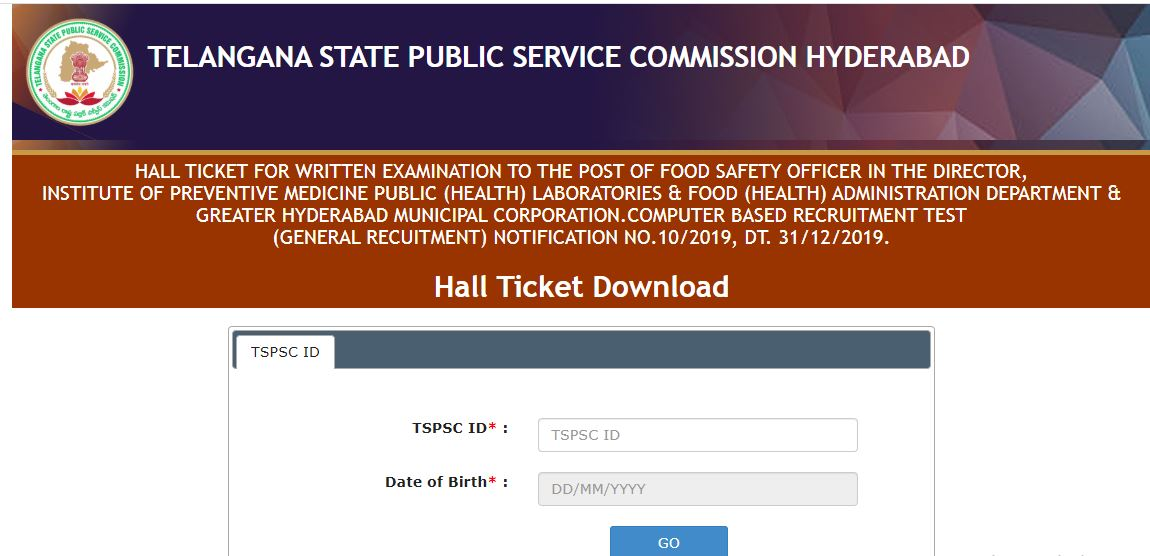 TSPSC Food Safety Officer Hall Ticket 2020 OUT | Download ...