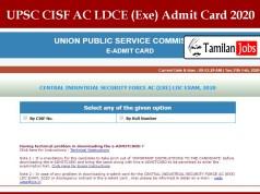 UPSC CISF AC LDCE (Exe) Admit Card 2020