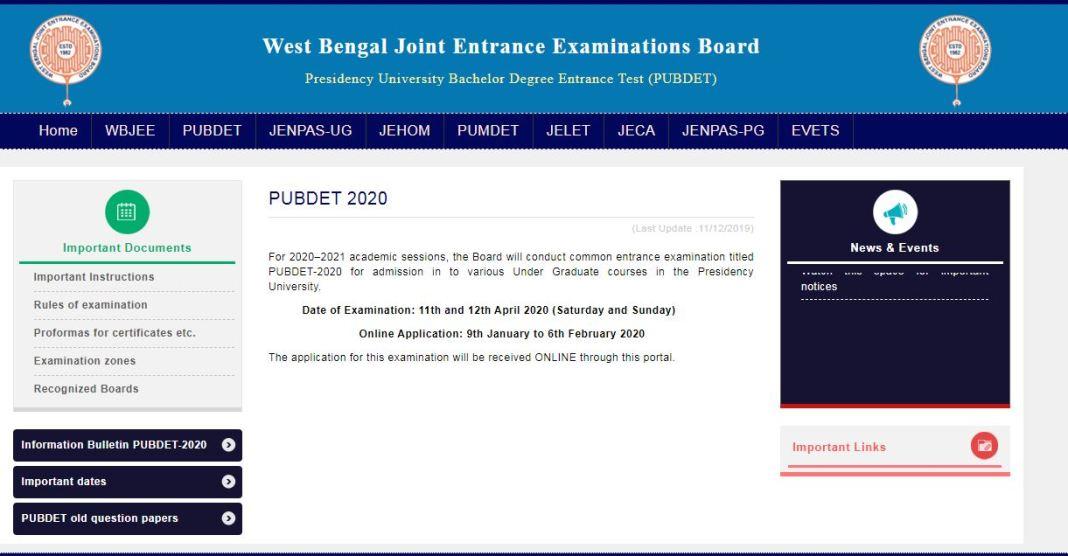 WBJEE PUBDET Admit Card 2020