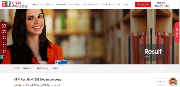 Ansal University Result 2020 OUT   UG/PG Exam Results @ ansaluniversity.edu.in