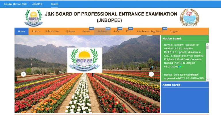 JKPET Admit Card 2020 Declared Soon | JKBOPEE Polytechnic Entrance Test Date