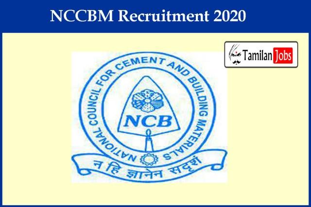 NCCBM Recruitment 2020