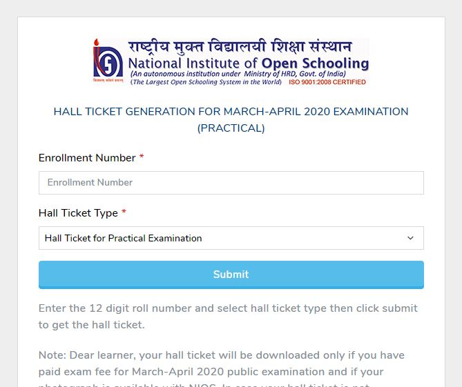 NIOS 12th Admit Card 2020 OUT | Download Board Hall Ticket