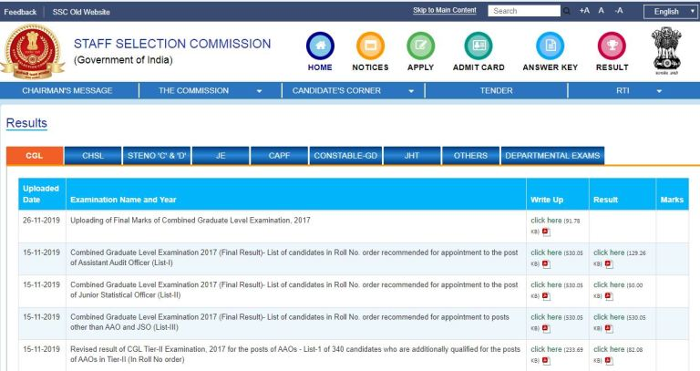 SSC CGL Tier 3 Result 2020 (Out) | Combined Graduate Level Tier 3 Cut Off, Merit List