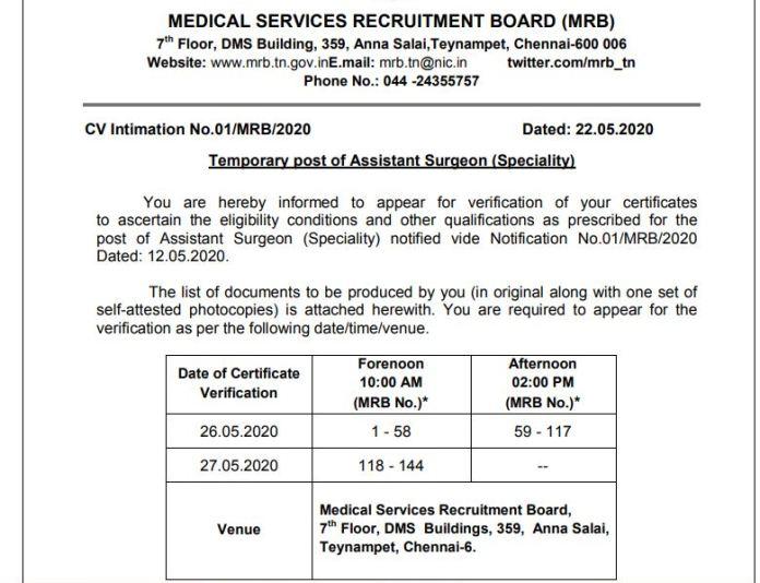 TN MRB Assistant Surgeon CV Date 2020
