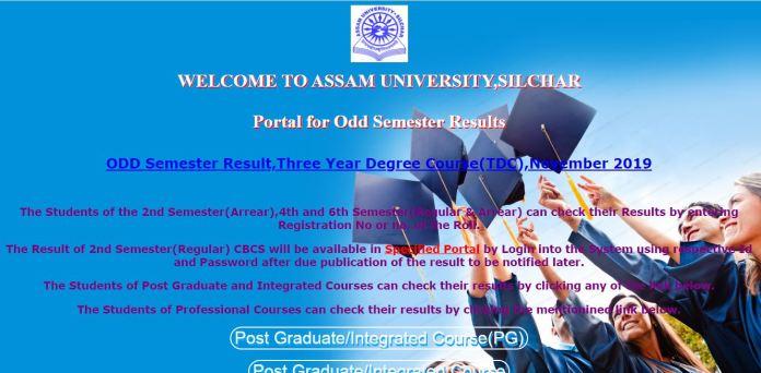Assam University Result 2020 OUT @ aus.ac.in | Odd Sem BA, B.Sc, B.Com, BCA