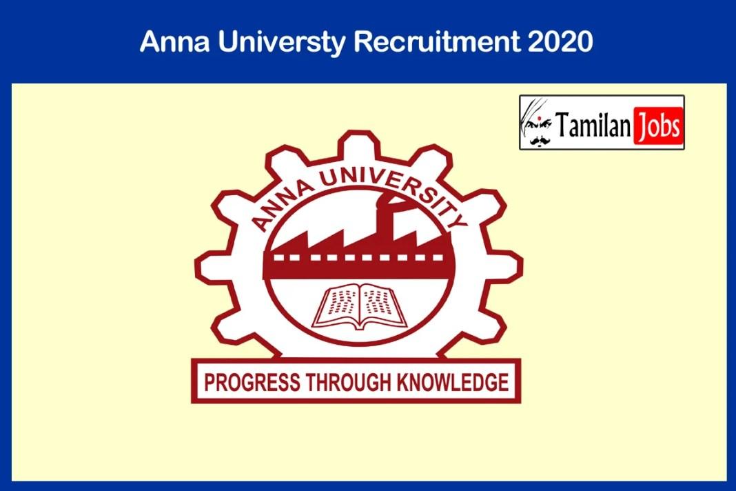 Anna Universty Recruitment 2020