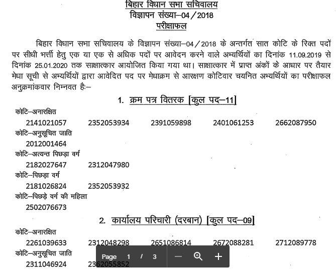 Bihar Vidhan Sabha Assistant Result 2020