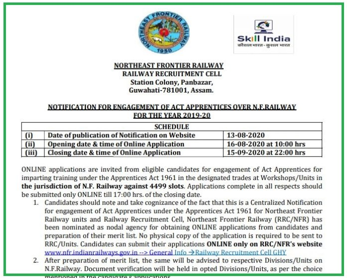 North East Frontier Railway Recruitment 2020 Out | 4499 Apprentices Jobs