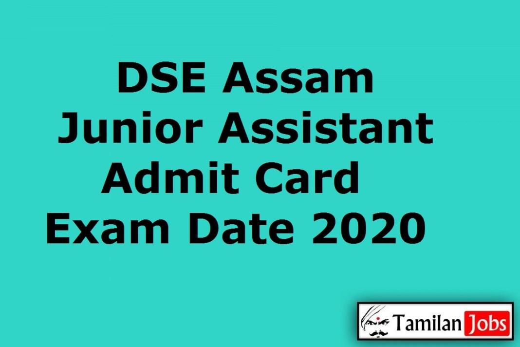 DSE Assam Junior Assistant Admit Card 2020