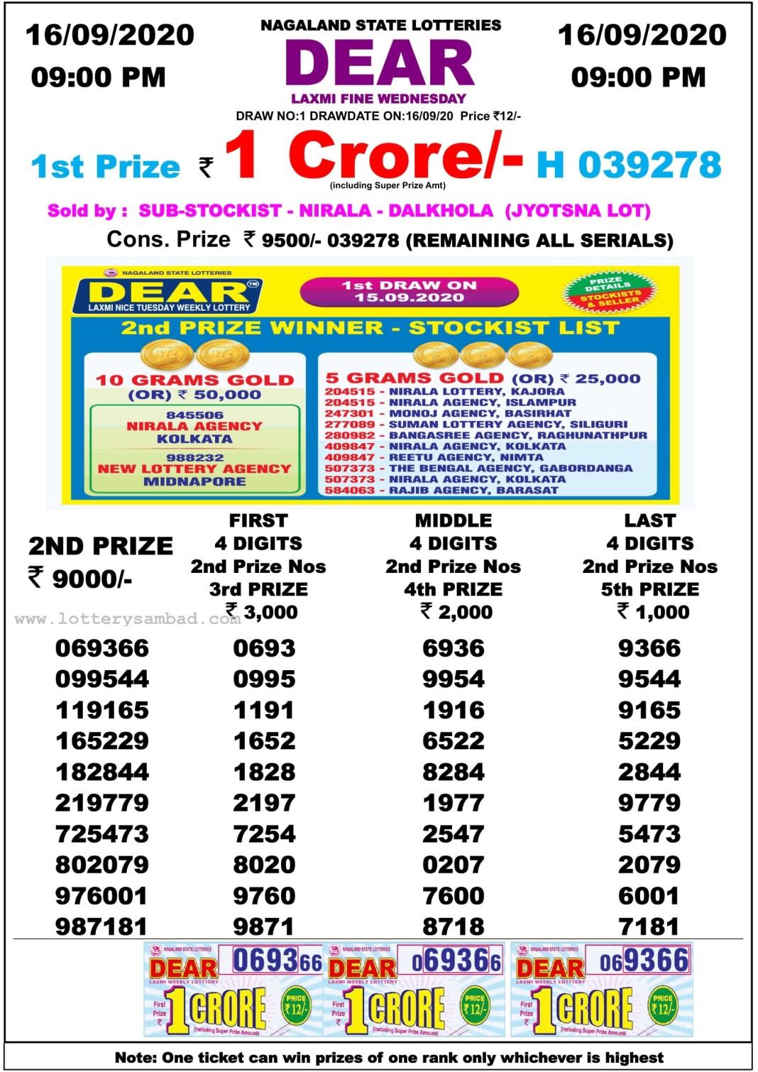Dear Laxmi Lottery Result 9 PM 16.9.2020