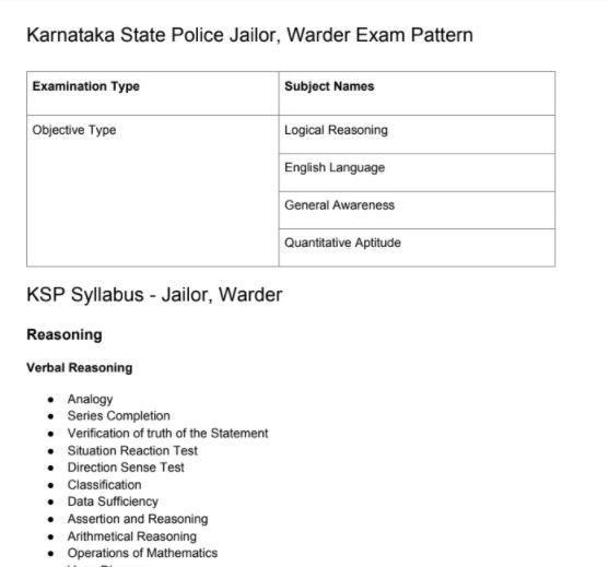 KSP Jailor Syllabus 2020 PDF Download | Karnataka Police Warder Exam Pattern