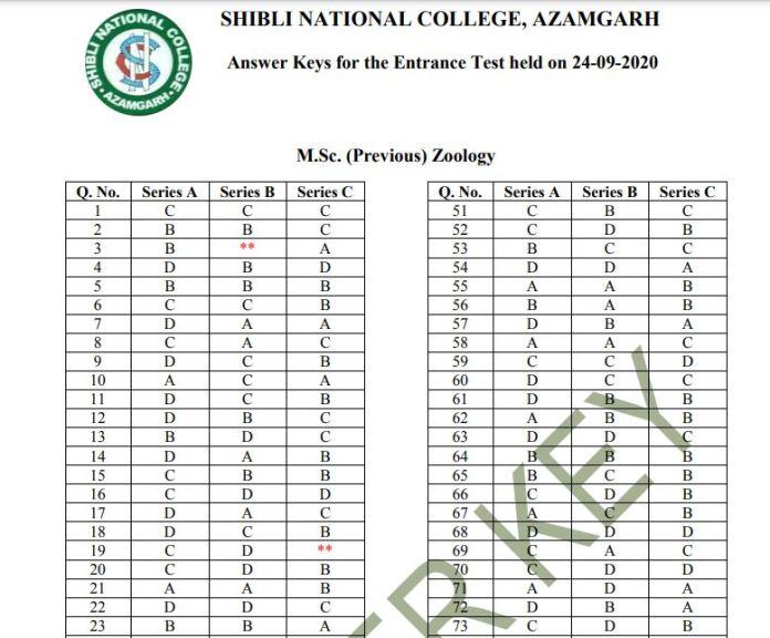 Shibli National College Entrance Exam Answer Key 2020 PDF (OUT) | Set Wise Exam Key