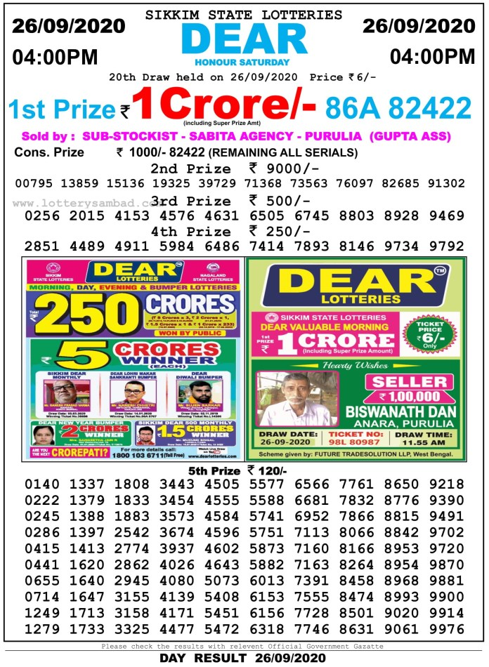 Sikkim State Lottery Result 4 PM 26.9.2020