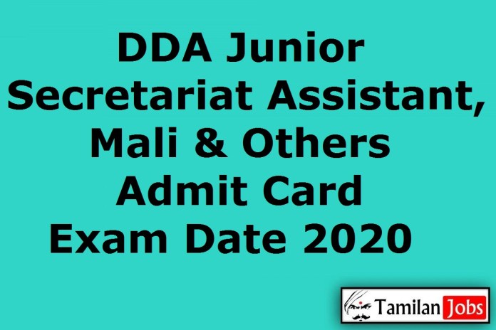 DDA Junior Secretariat Assistant Admit Card 2020