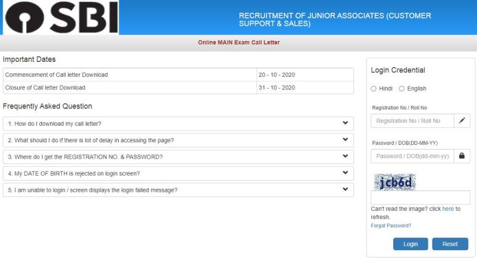 SBI Clerk Mains Admit Card 2020 (Released), Junior Associates Exam Date