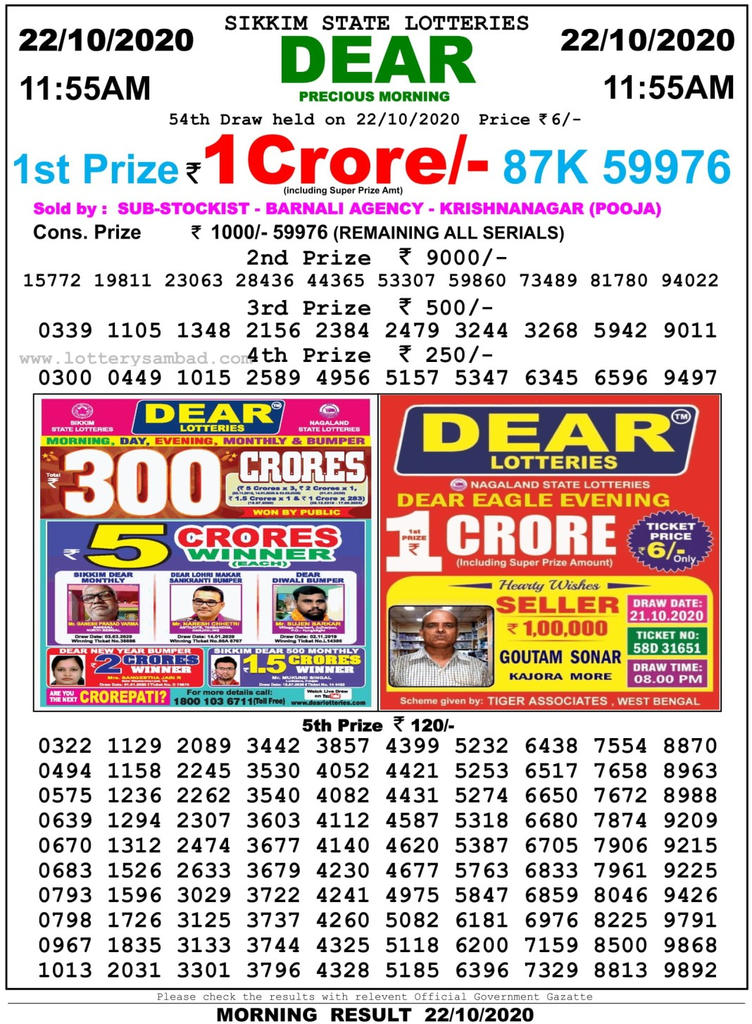 Sikkim State Lottery Result 11.55 AM 22.10.2020
