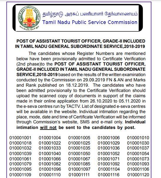 TNPSC Assistant Tourist Officer Result 2020