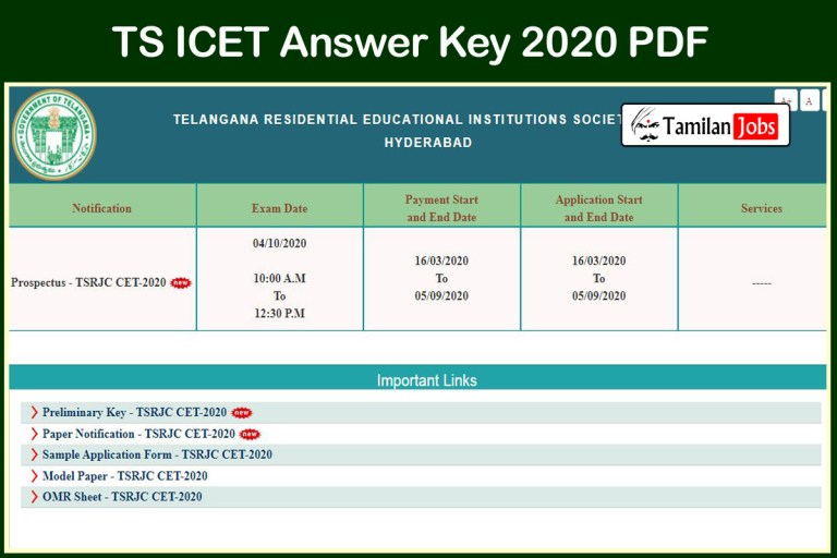 TS ICET Answer Key 2020 PDF | Download @ icet.tsche.ac.in
