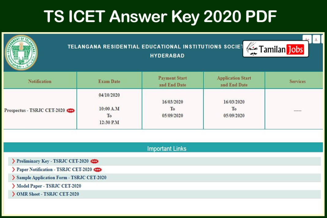 TS ICET Answer Key 2020 PDF