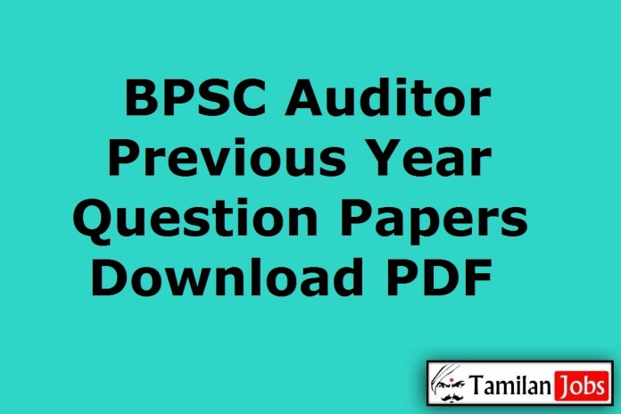 BPSC Auditor Previous Question Papers, Bihar Panchayat Audit Service Exam Papers