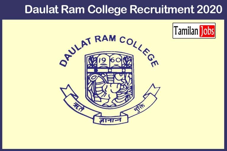 Daulat Ram College Recruitment 2020 Out – Apply 121 Assistant Professor Jobs
