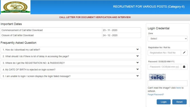 FCI Manager Interview/DV Admit Card 2020 (OUT), Zone Wise Phase 2 @ fci.gov.in