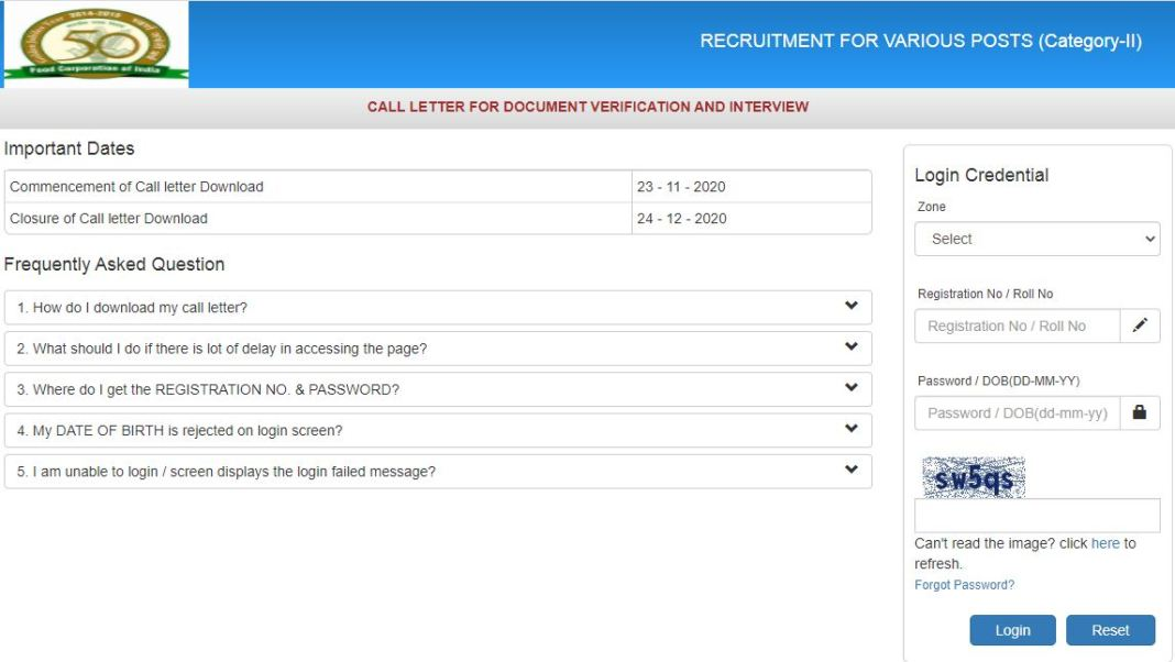 FCI Manager Interview DV Admit Card 2020