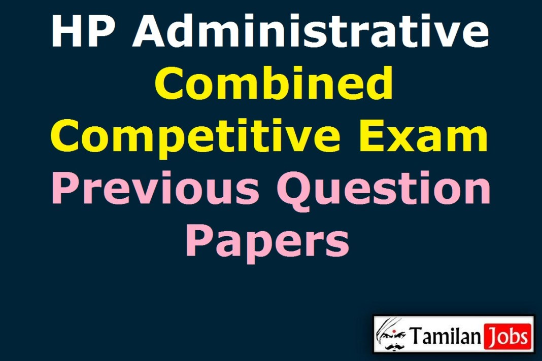HPAS HP Administrative Combined Competitive Exam Previous Question Papers